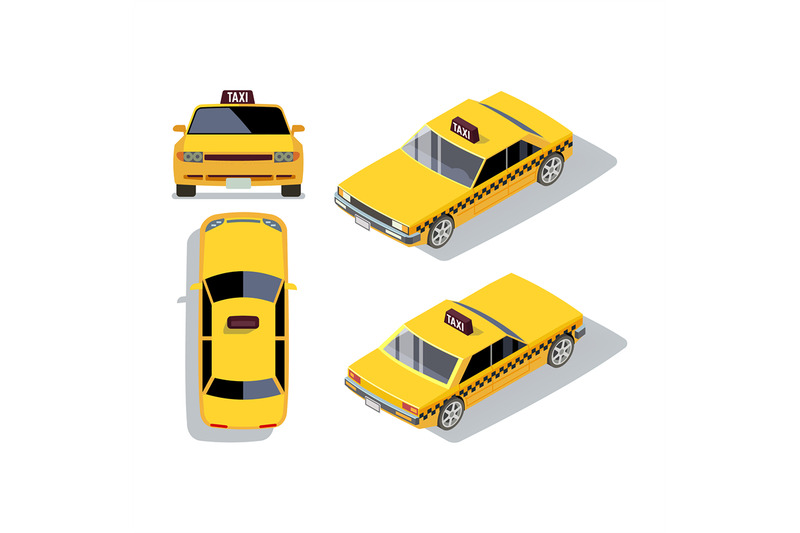 vector-flat-style-cars-in-different-views-yellow-isometric-taxi