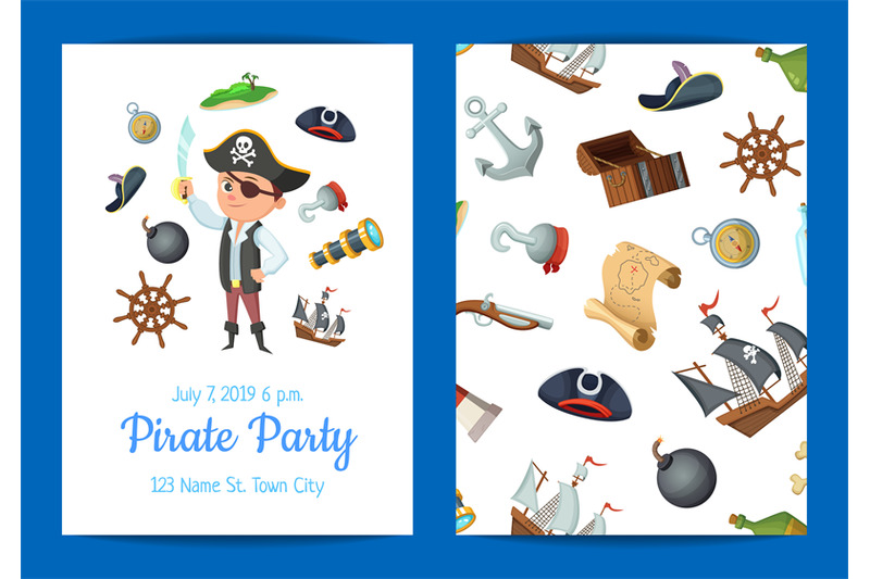 vector-cartoon-sea-pirates-birthday-party-invitation-template-illustra