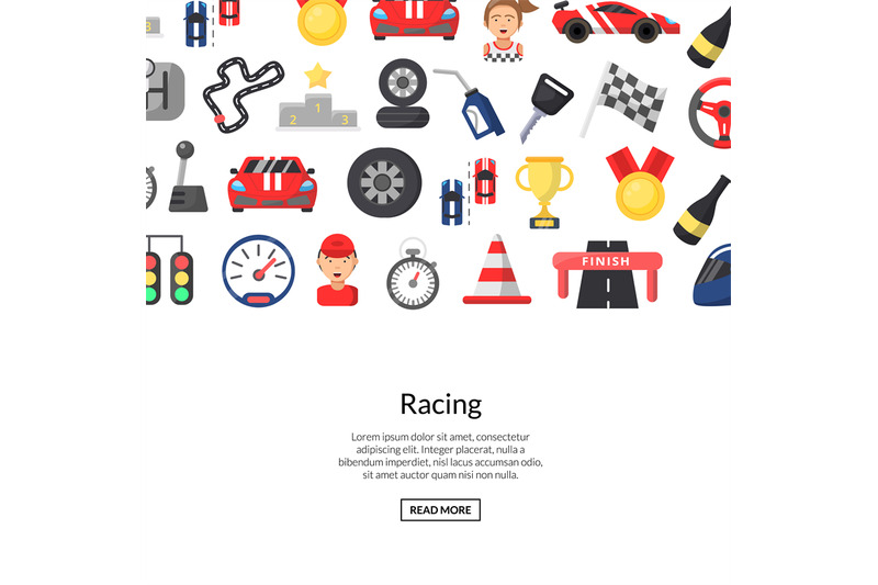 vector-flat-car-racing-icons-background