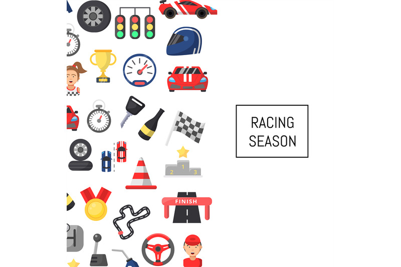 vector-flat-car-racing-icons-background-with-place-for-text-illustrati