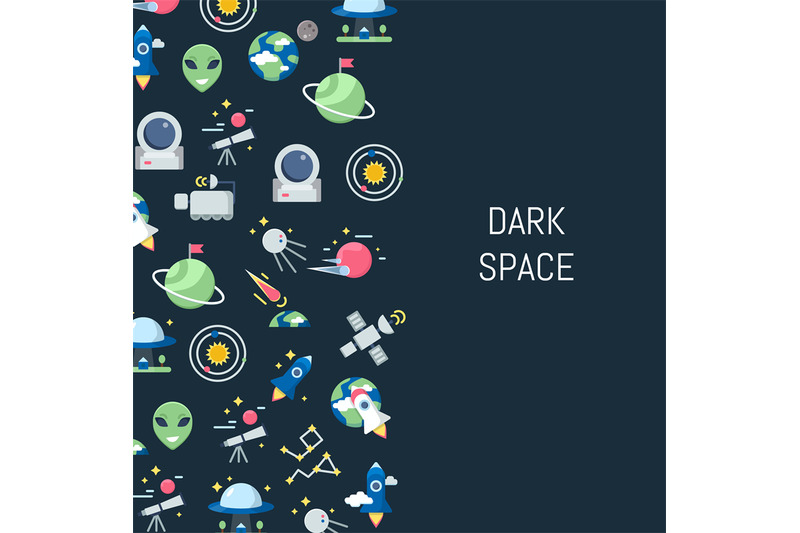 vector-flat-space-icons-background-with-place-for-text-illustration