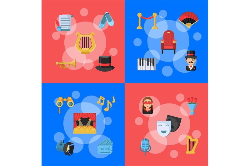 vector-flat-theatre-icons-infographic-concept-illustration