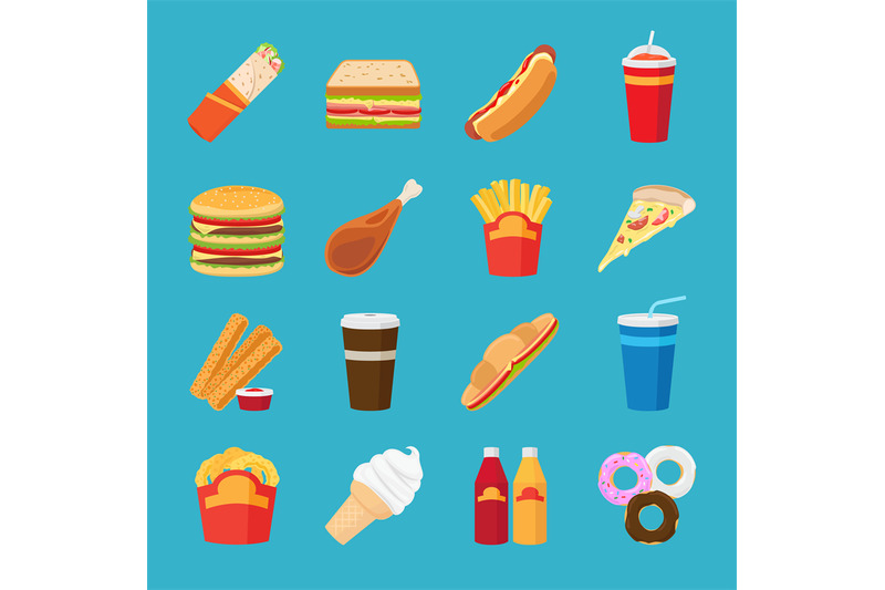 fastfood-and-drink-flat-icons