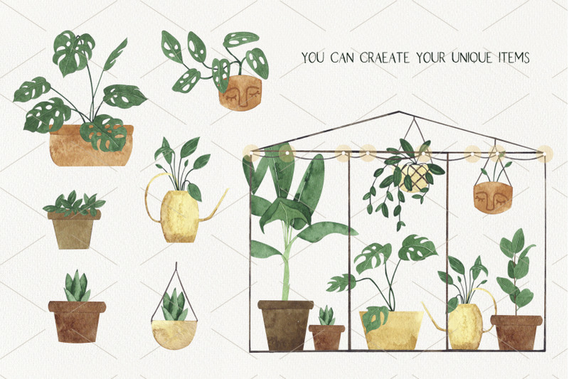 greenhouse-creator-watercolor-plants-in-flower-pots
