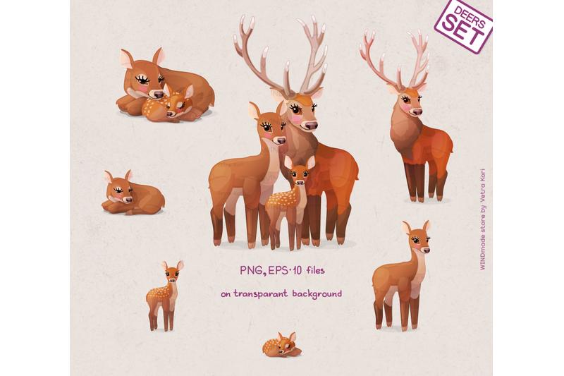 vector-deers-family