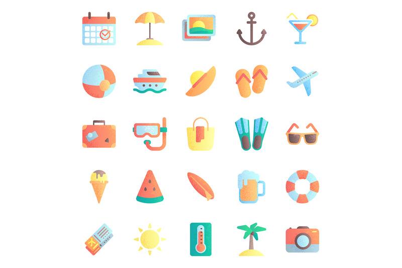 summer-flat-icons-summertime-vacation-beach-umbrella-and-sunglasses