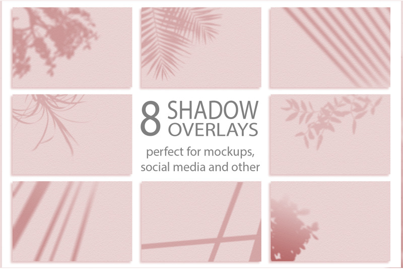 Free Set of 8 Shadows mockup. Summer background of shadows branch leaves. (PSD Mockups)
