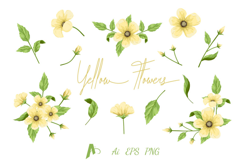 flowers-clipart-yellow-flowers-set-floral-design-elements