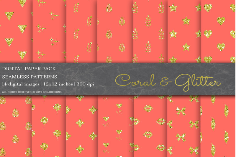 coral-glitter-digital-papers