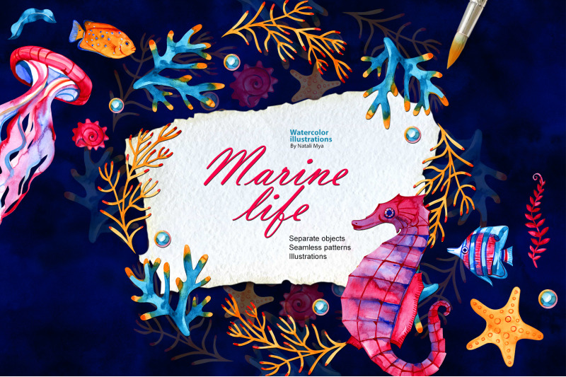 watercolor-marine-life-set