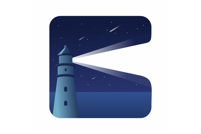 flat-design-pancaran-sinar-cahaya-mercusuar-in-the-middle-of-the-sea-w