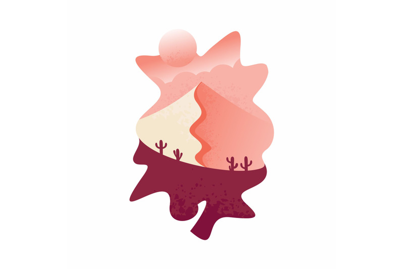 flat-design-cactus-in-the-dry-sand-dry-and-there-are-mountains