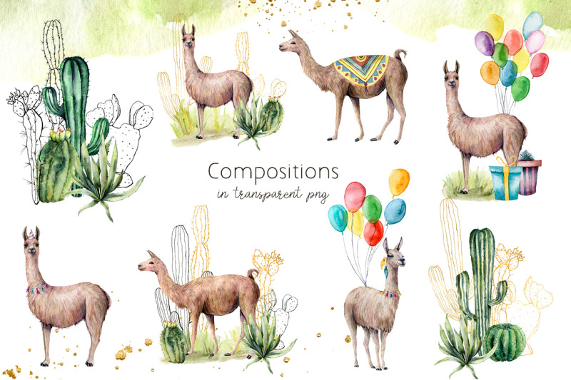 llamas-cacti-party-watercolor