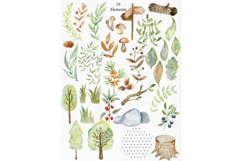 woodland-watercolor-set