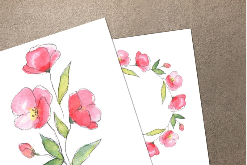 floral-sketch-watercolor-set