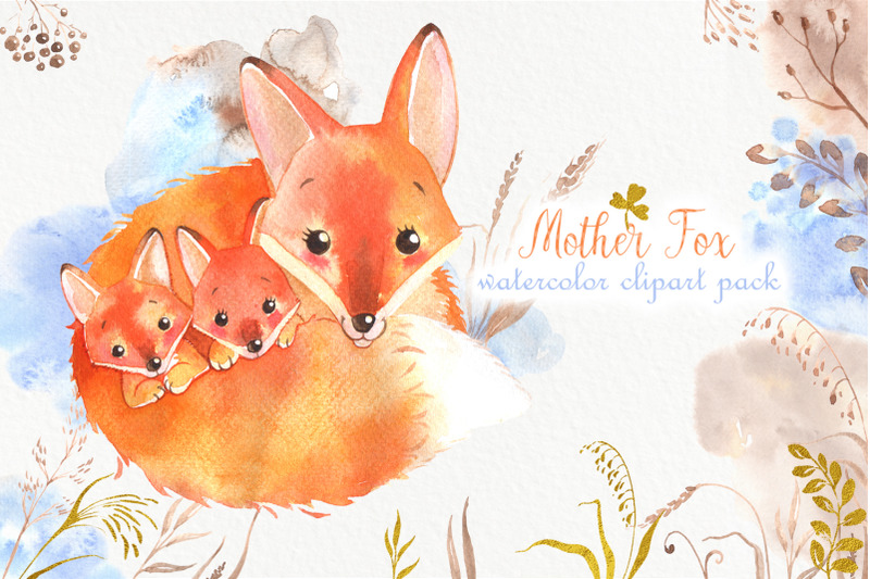 cute-watercolor-foxes-family-pack