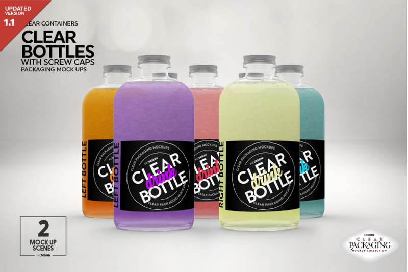 Free Clear Bottles with Screw Caps Packaging Mockup (PSD Mockups)