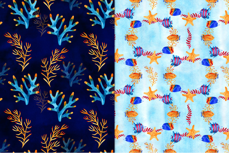 watercolor-marine-life-patterns