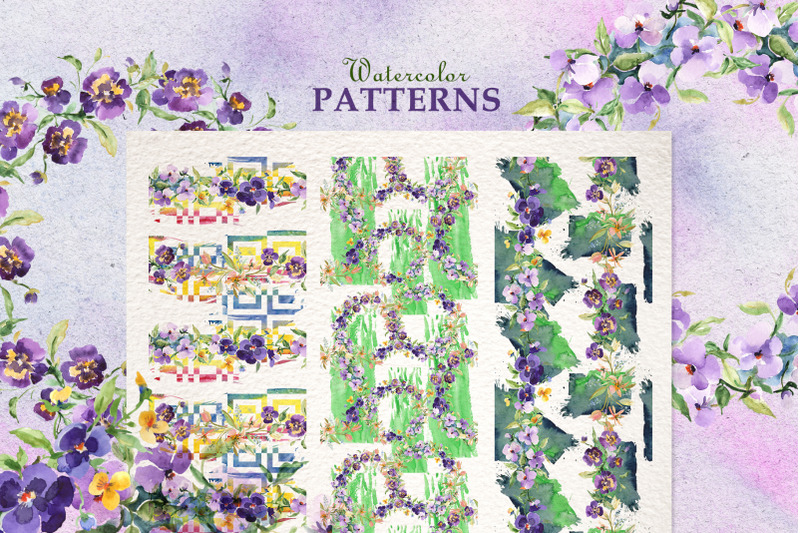 bouquets-with-violas-and-wildflowers-watercolor-png