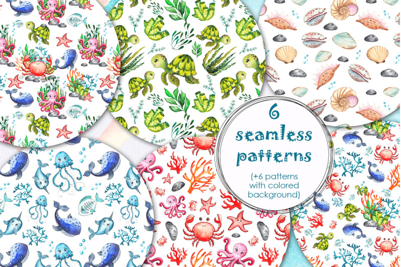 little-ocean-creatures-watercolor-collection
