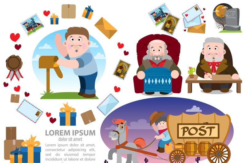 post-office-infographics-set