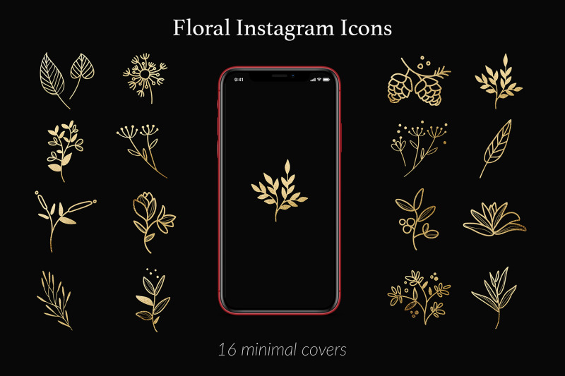 nature-instagram-icons-gold-flowers-amp-branches