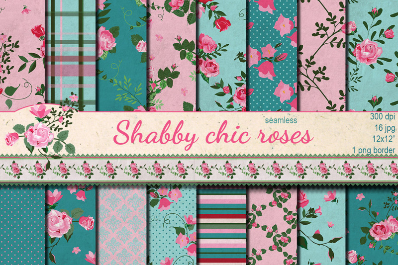 shabby-chic-pink-roses-hand-drawn-seamless-patterns