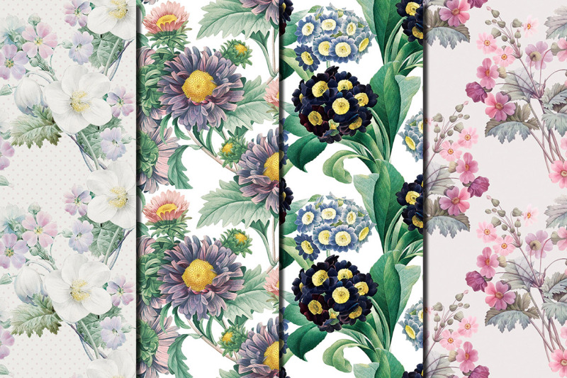 violet-flowers-redoute-seamless-patterns