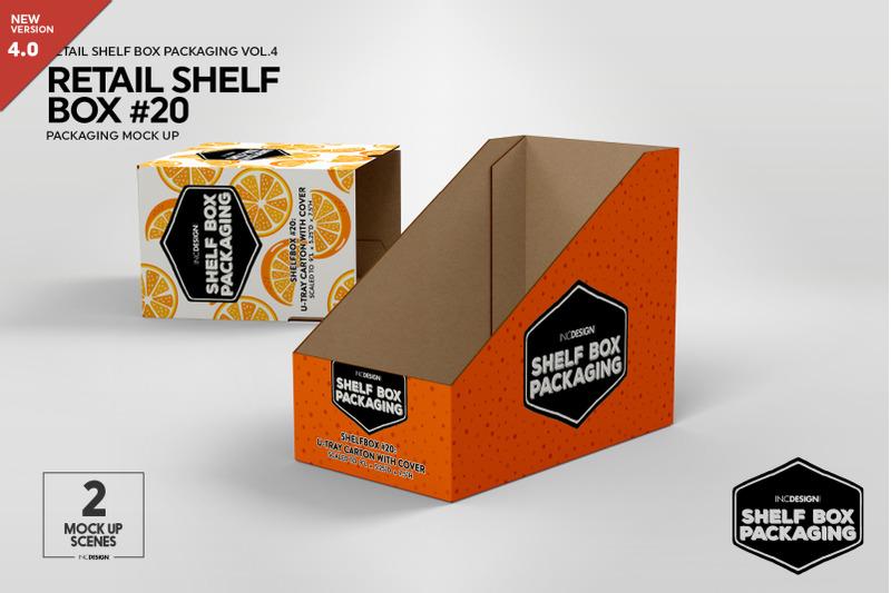 Free Retail Shelf Box 20 Packaging Mockup (PSD Mockups)