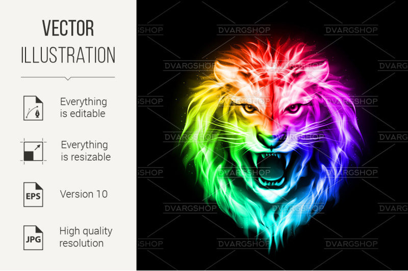 head-of-colorful-fire-lion