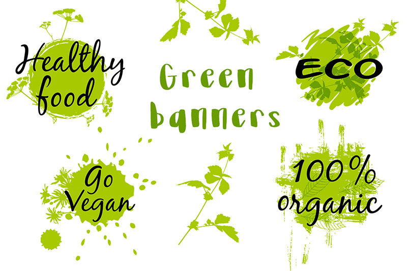 green-floral-banners