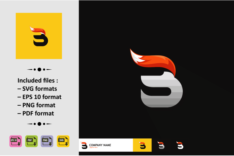 letter-logo-design-with-fox-tail-vector