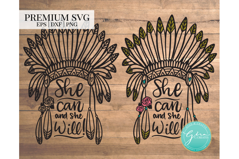 she-can-and-she-will-feather-headdress-svg-cut-file