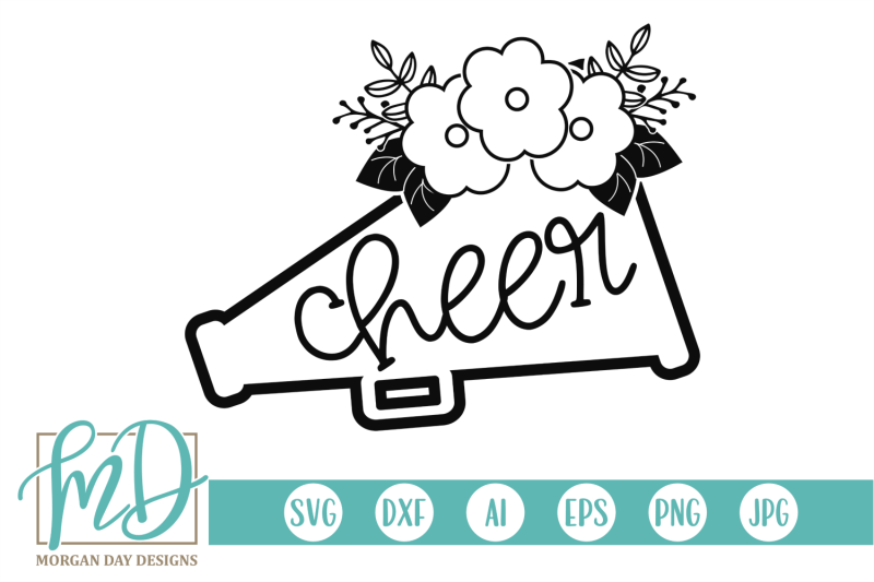floral cheer megaphone svg by morgan day designs
