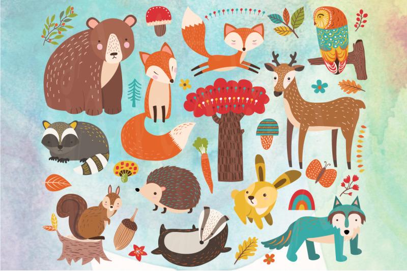 cute-woodland-animal-element-set