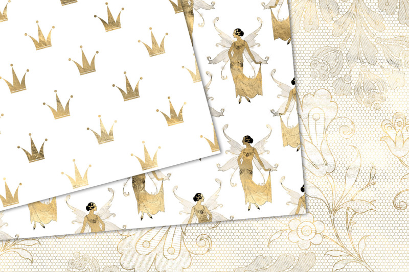 white-and-gold-fairy-digital-paper