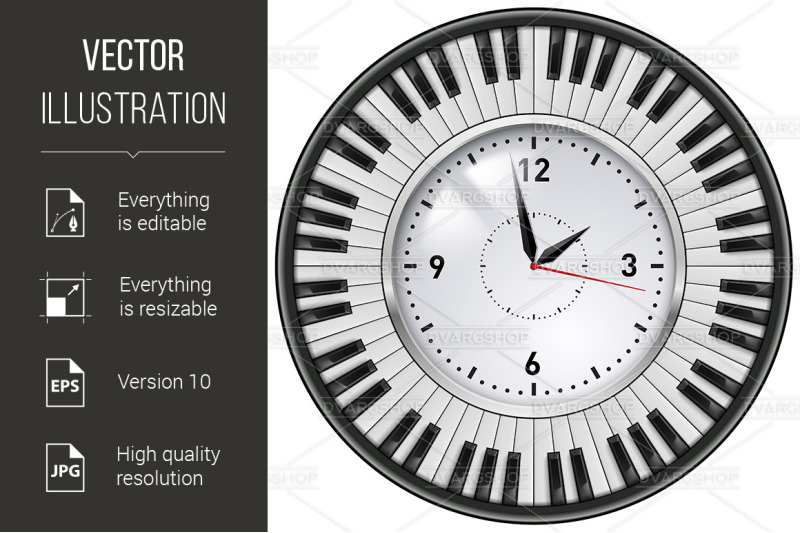 realistic-office-clock-piano-keys