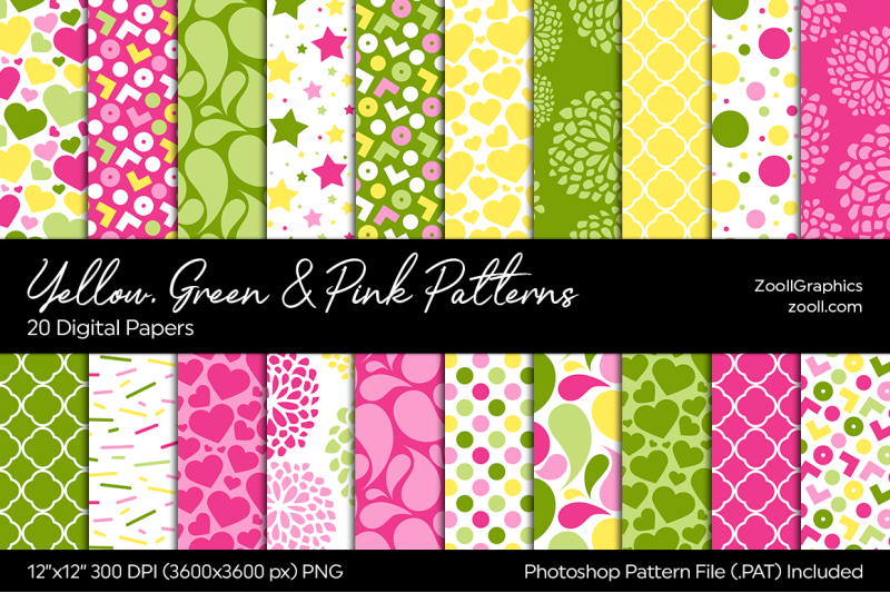 yellow-green-and-pink-digital-papers