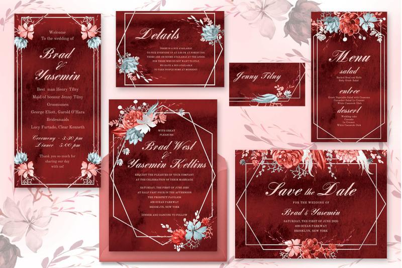 marsala-watercolor-wedding-suite