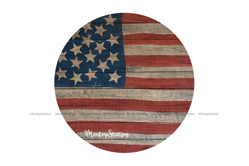 usa flag sublimation wood background png  4th of july circle by mockupstation