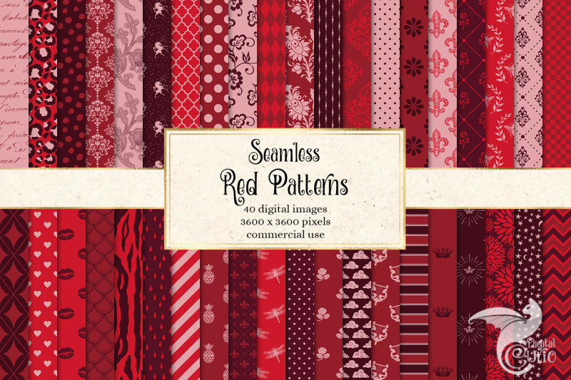 red-digital-paper-patterns