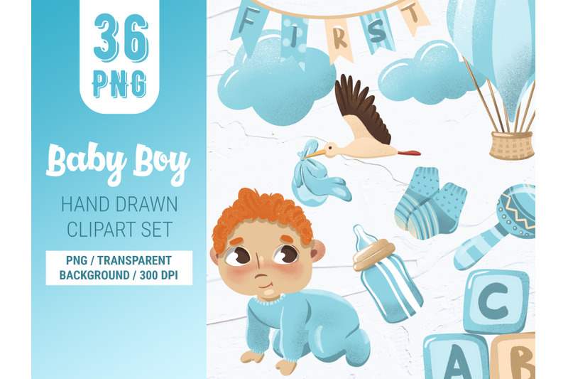 baby-boy-digital-hand-drawn-clipart-set