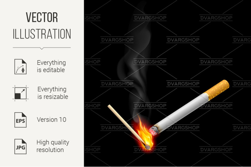 cigarrette-with-burning-match