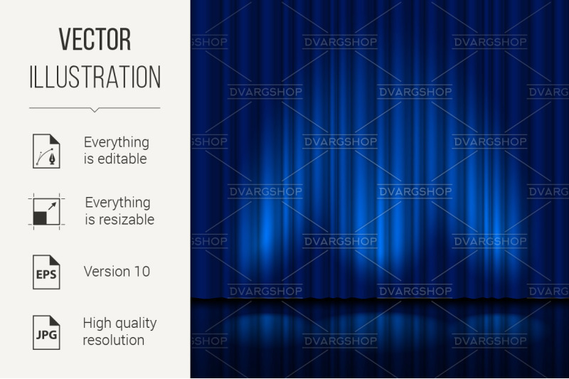 realistic-blue-curtain
