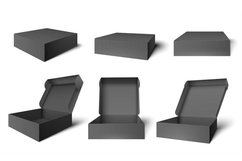 open-black-packaging-box-dark-cardboard-opened-and-closed-boxes-pack