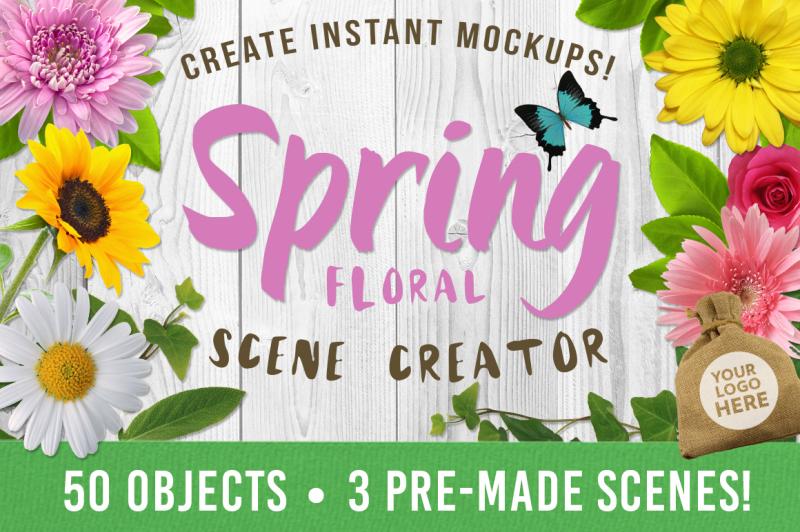 Free Spring Floral Mockup Creator (PSD Mockups)