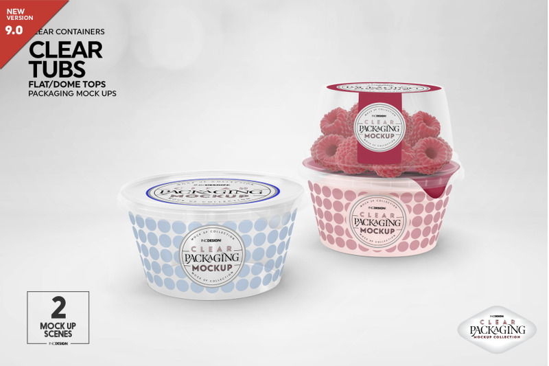 Free Clear Tubs with Flat or Dome Lid Packaging Mockup (PSD Mockups)