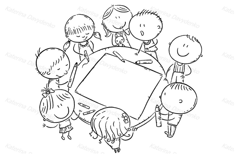 doodle-kids-drawing-together