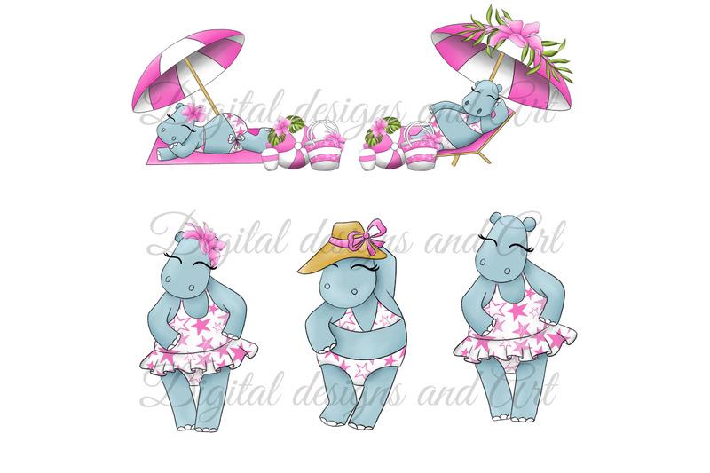 hippos-on-the-beach-clipart