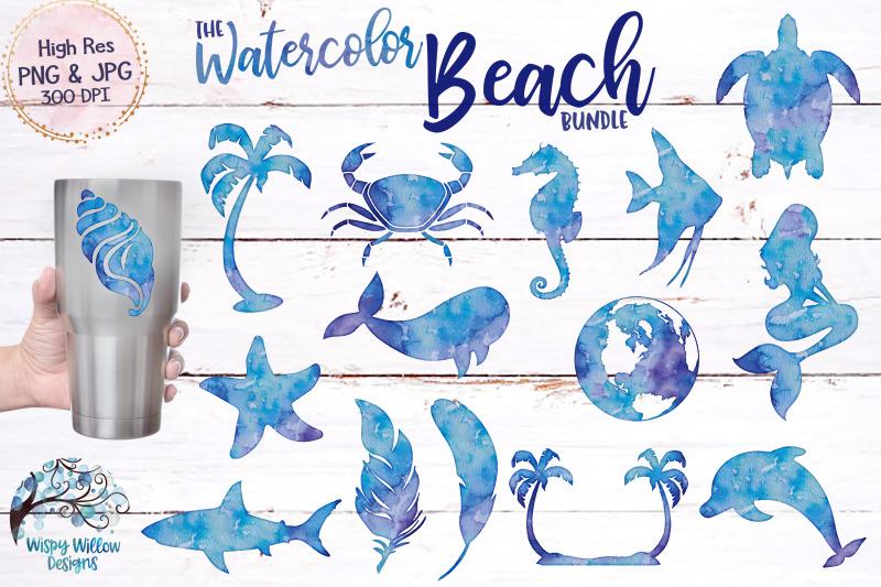 the-watercolor-beach-bundle-clipart-sublimation